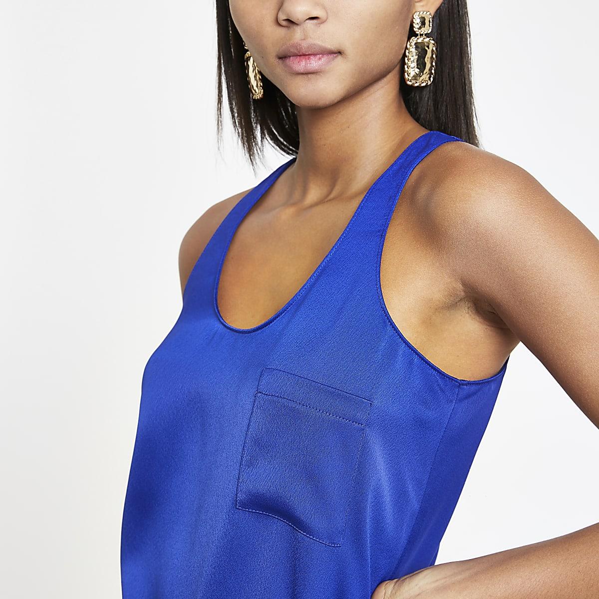 Bright blue chest pocket tank top