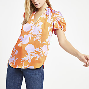 Orange  floral print shell top