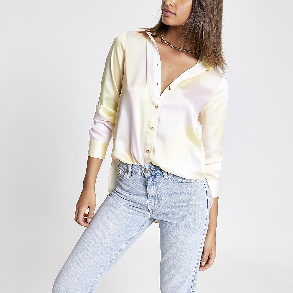 Yellow ombre long sleeve shirt