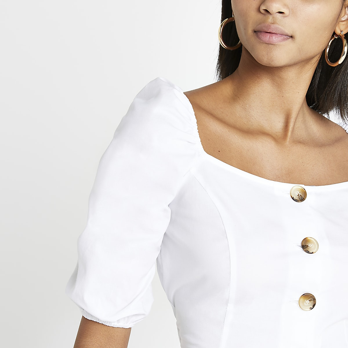 White button front crop top