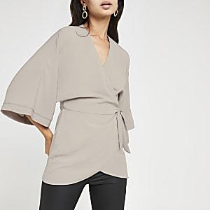 T-shirt kimono gris