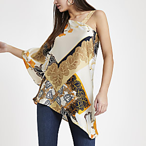 Cream floral one shoulder top