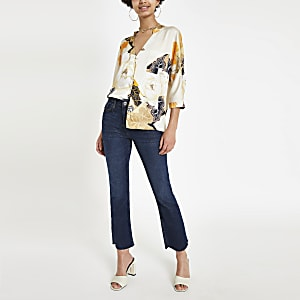Cream floral print schlouse