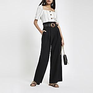 Zwarte linnen broek met geplooide taille en wijde pijpen