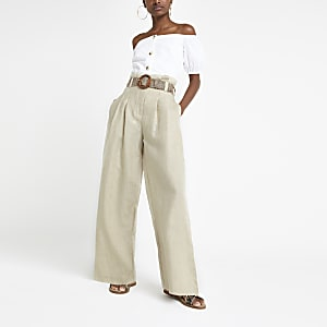 Beige linen wide leg trousers