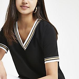 Black tipped V neck T-shirt