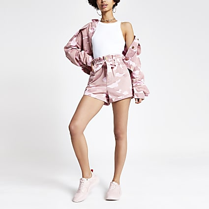 Pink camo paperbag denim shorts