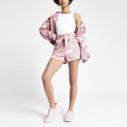 Pink camo paperbag denim shorts