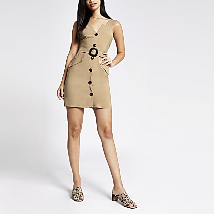 Beige utility pinafore dress