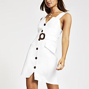 Robe chasuble blanche à ceinture