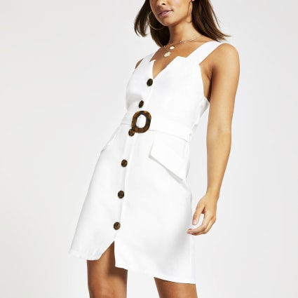 White belted pinafore dress