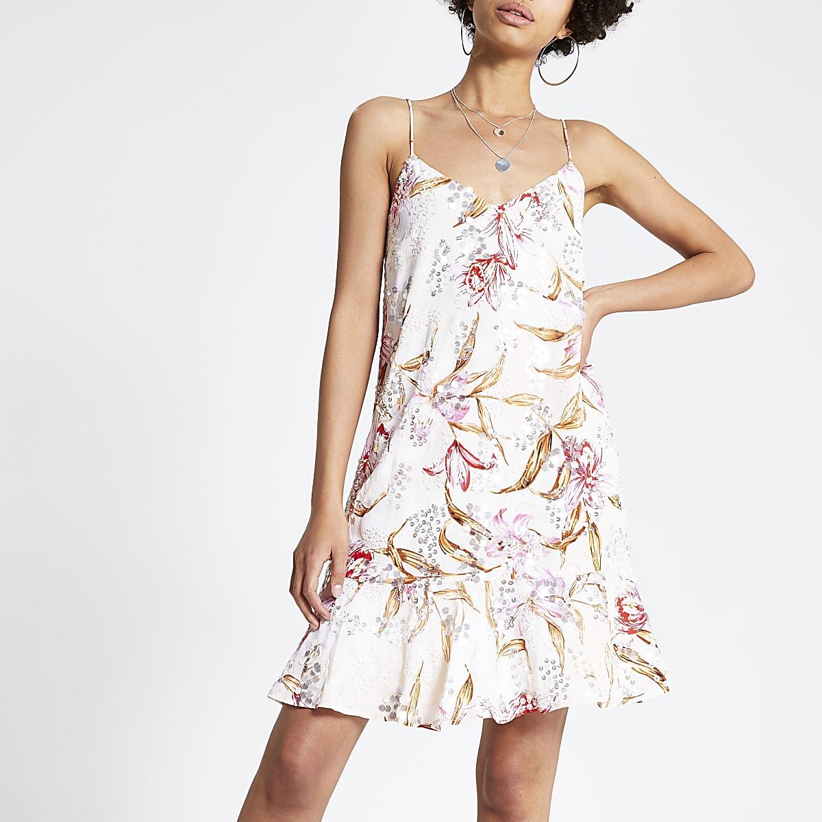 Pink print embellished slip dress