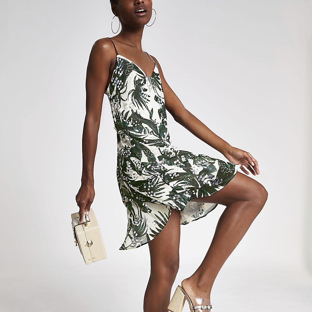 Green sequin embellished slip dress