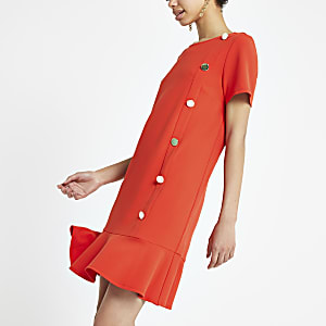 Bright red peplum hem shift dress