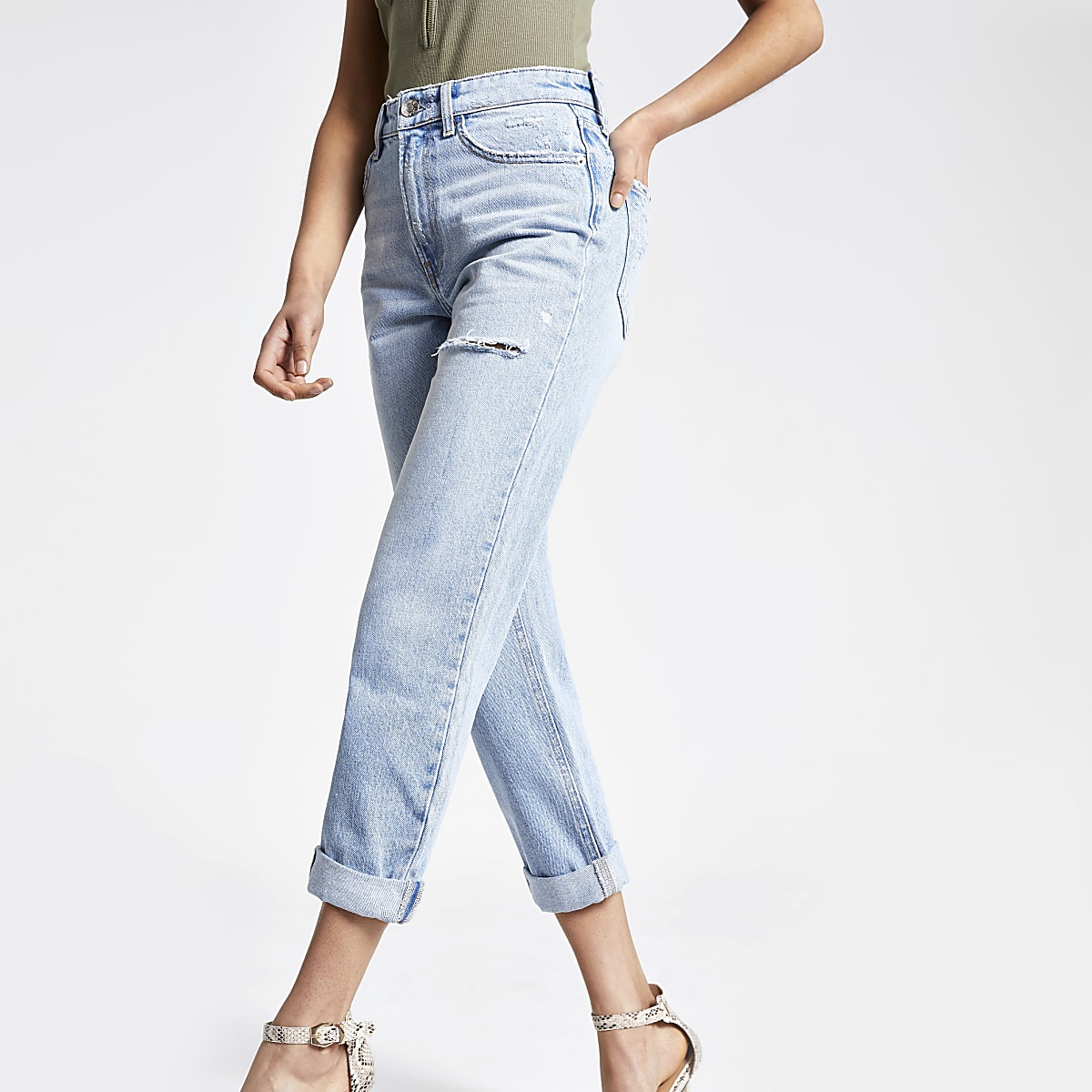 Lichtblauwe ripped denim Mom jeans met RI-logo
