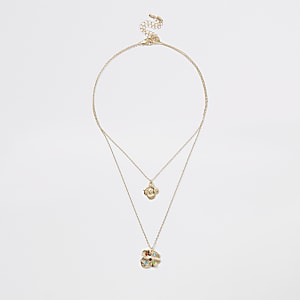 Gold colour gem stone pendant drop necklace