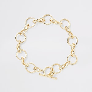 Gold colour battered chain necklace