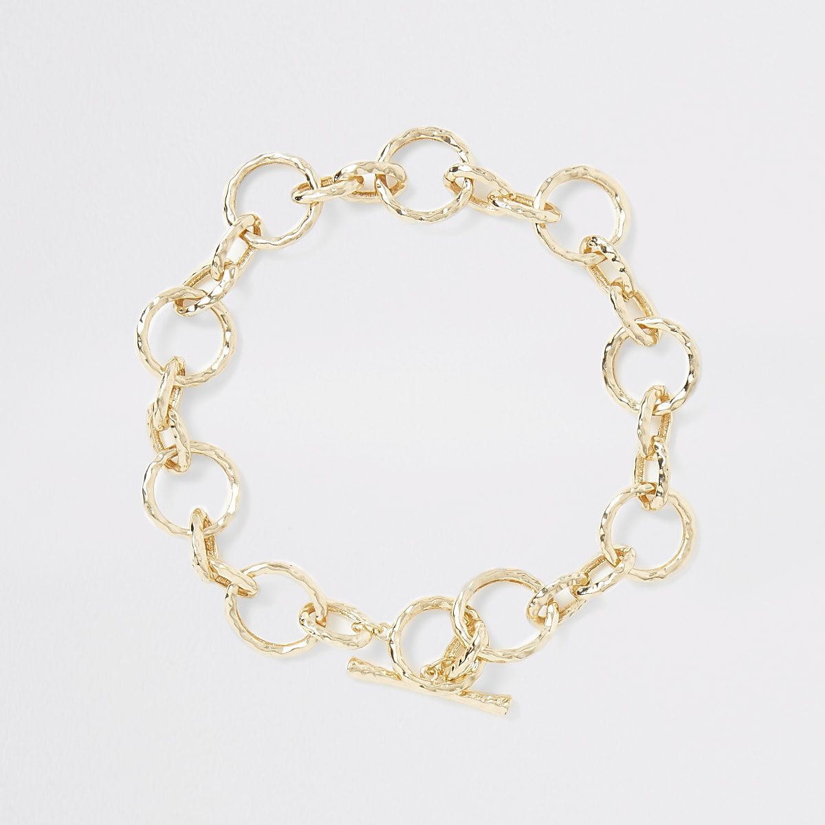 Gold color battered chain necklace