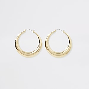 Gold colour statement hoop earrings