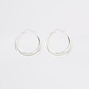Silver colour hoop statement earrings