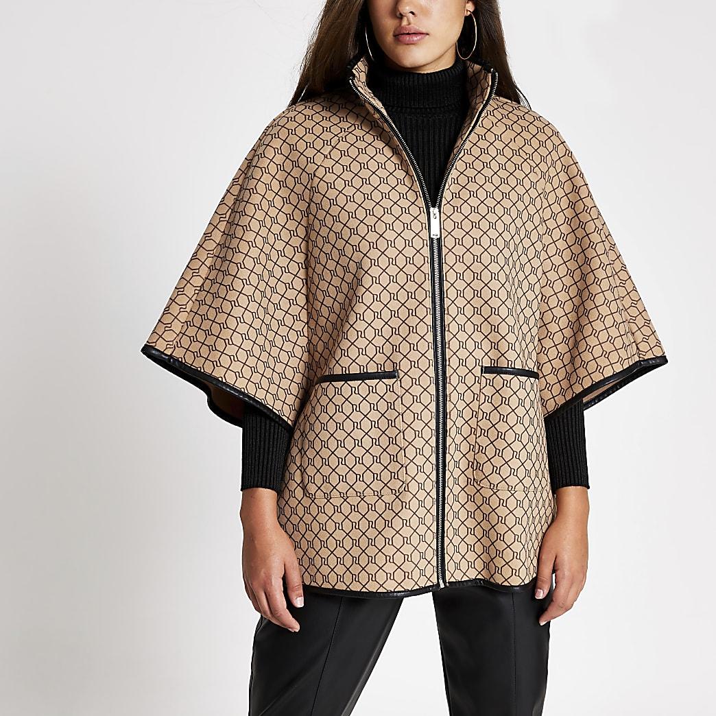 Brown RI monogram cape jacket