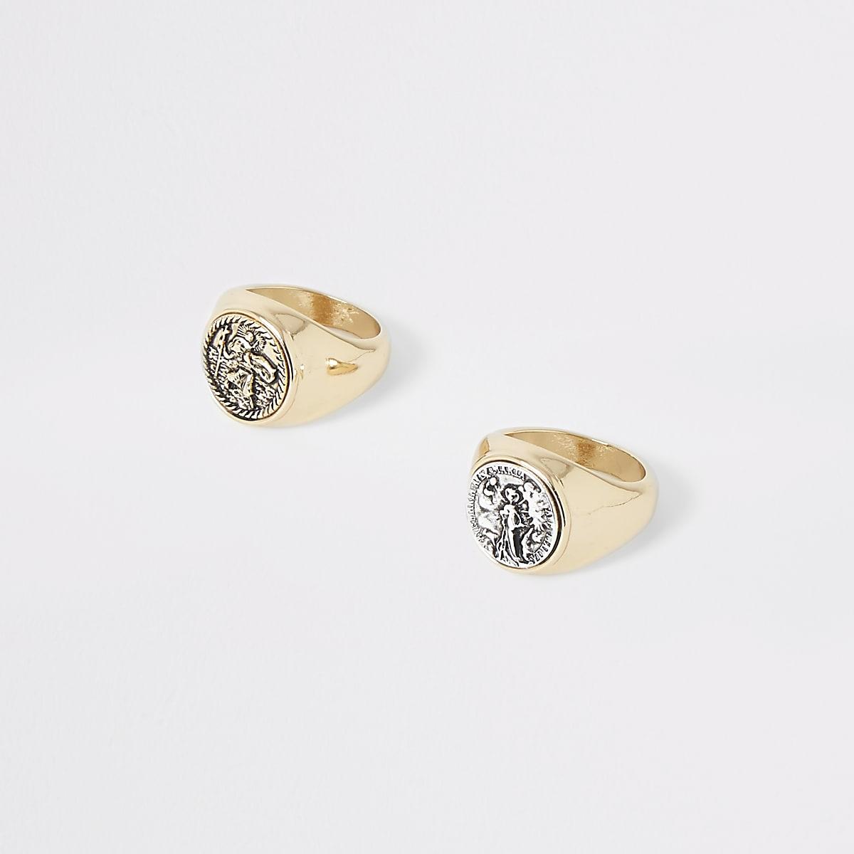 Multipack goudkleurige ringen met munt