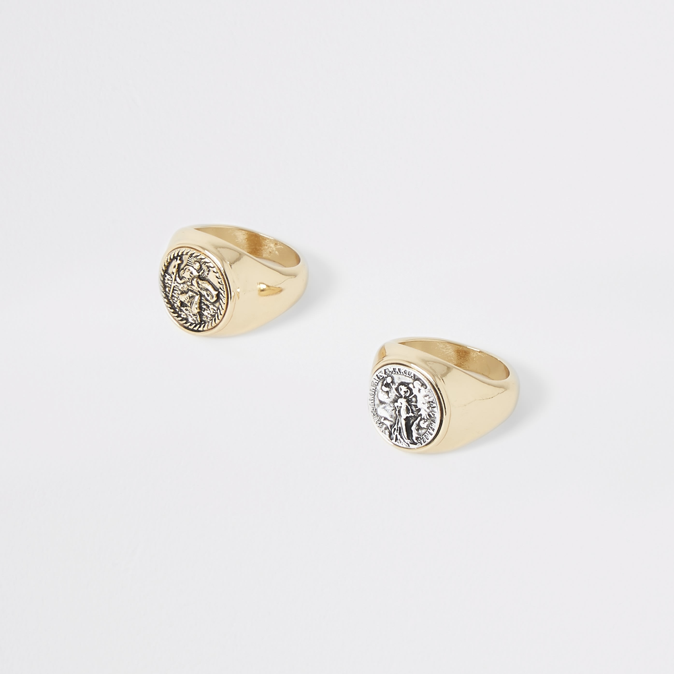 RIVER ISLAND | Womens Gold Colour Coin Ring Multipack | Goxip