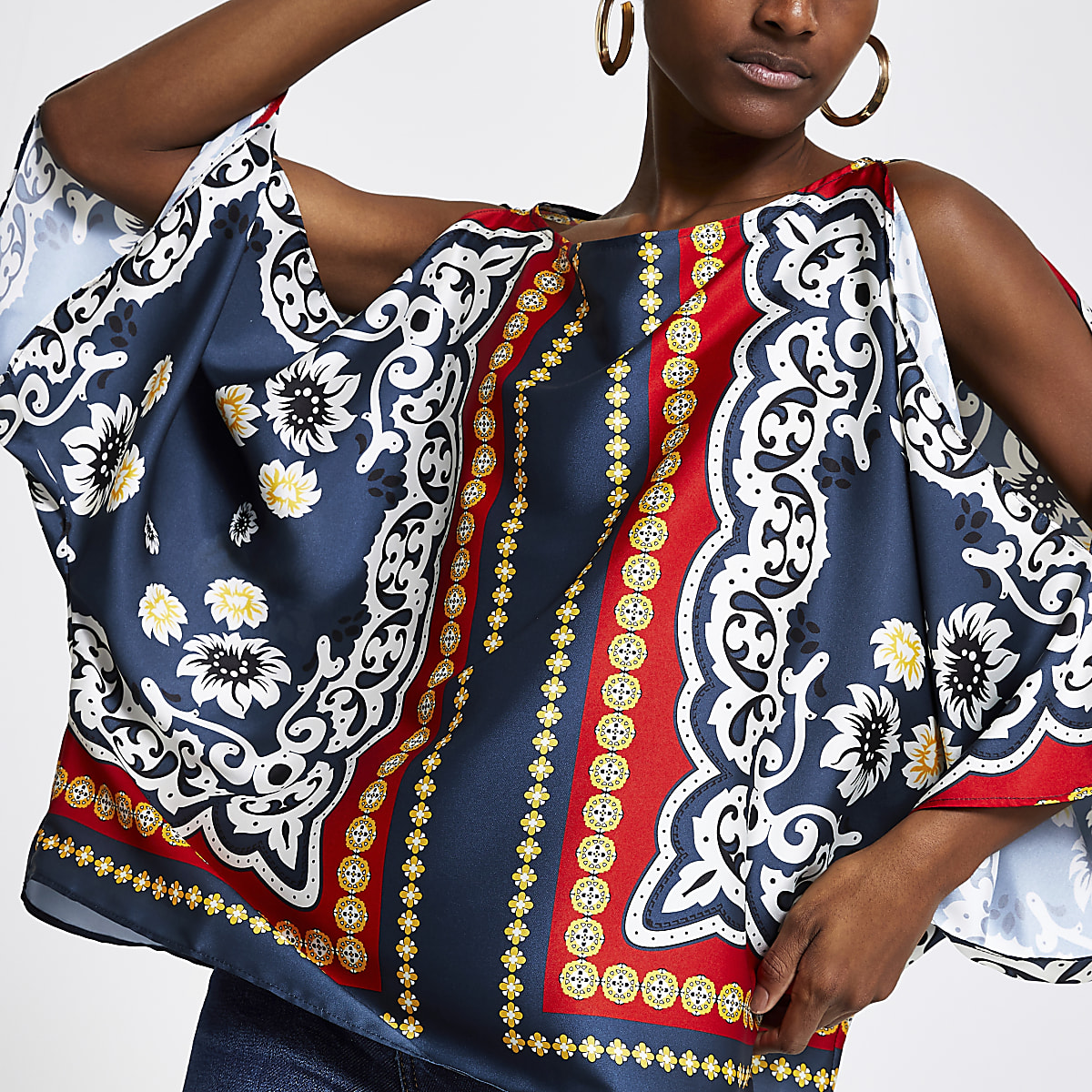 Red scarf print cape top