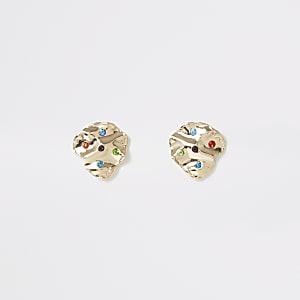 Gold colour multicolour gem stud earrings