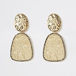 Gold colour snake drop earrings