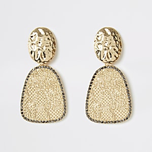 Gold color snake drop earrings