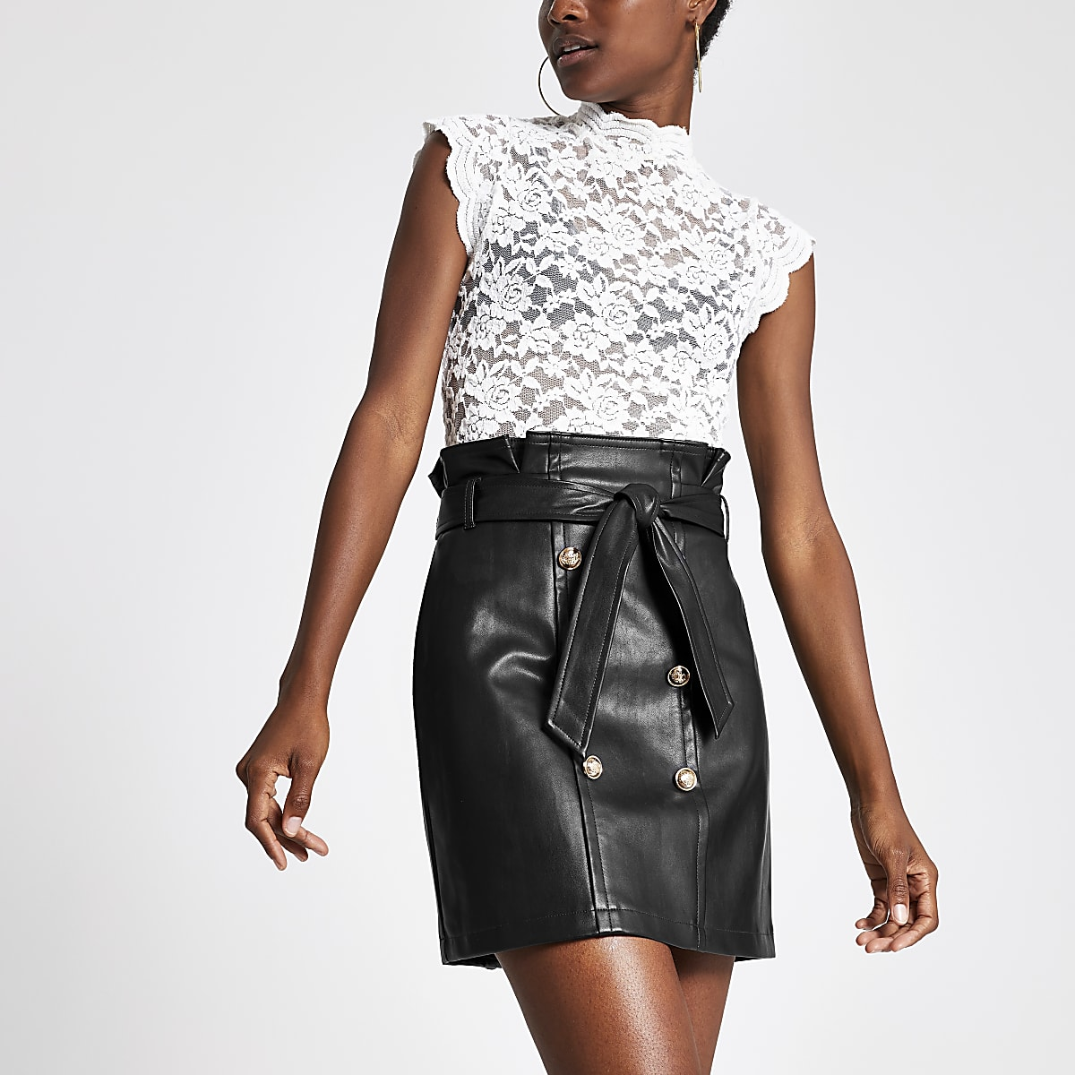 Black faux leather paperbag mini skirt