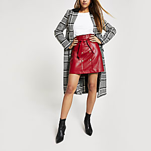Red faux leather paperbag mini skirt