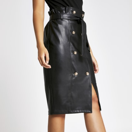 Black faux leather button front pencil skirt