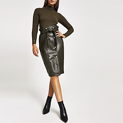 Khaki faux leather paperbag midi skirt