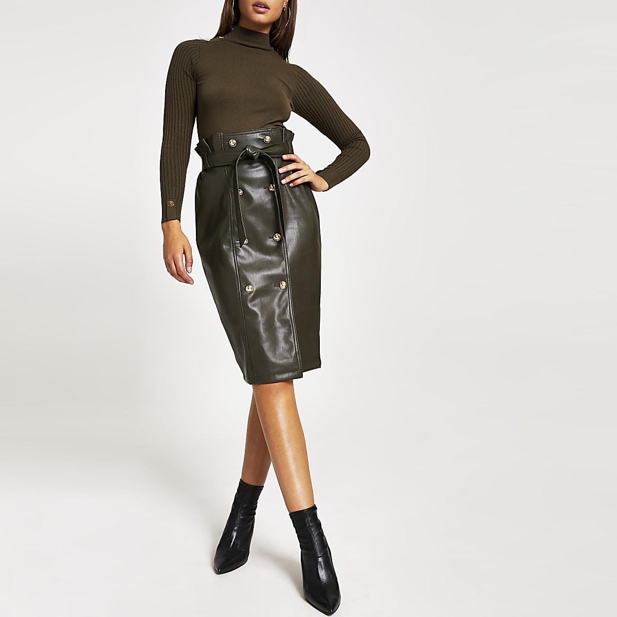 Khaki faux leather paperbag midi skirt