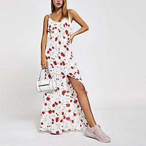 Witte maxi-jurk met bloemenprint