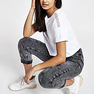 White diamante crop T-shirt