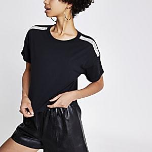 T-shirt court noir avec bordure à strass