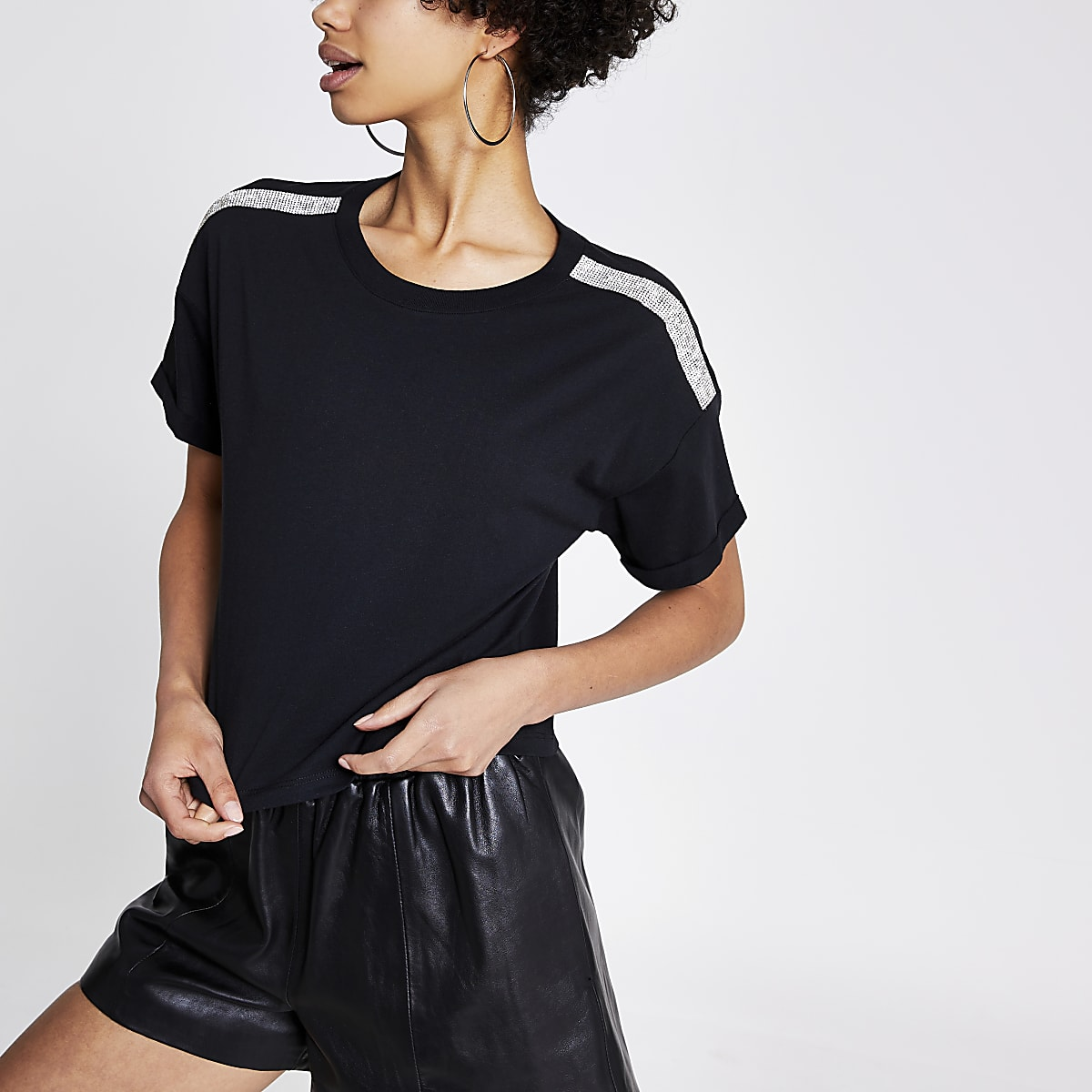 Black diamante trim crop T-shirt