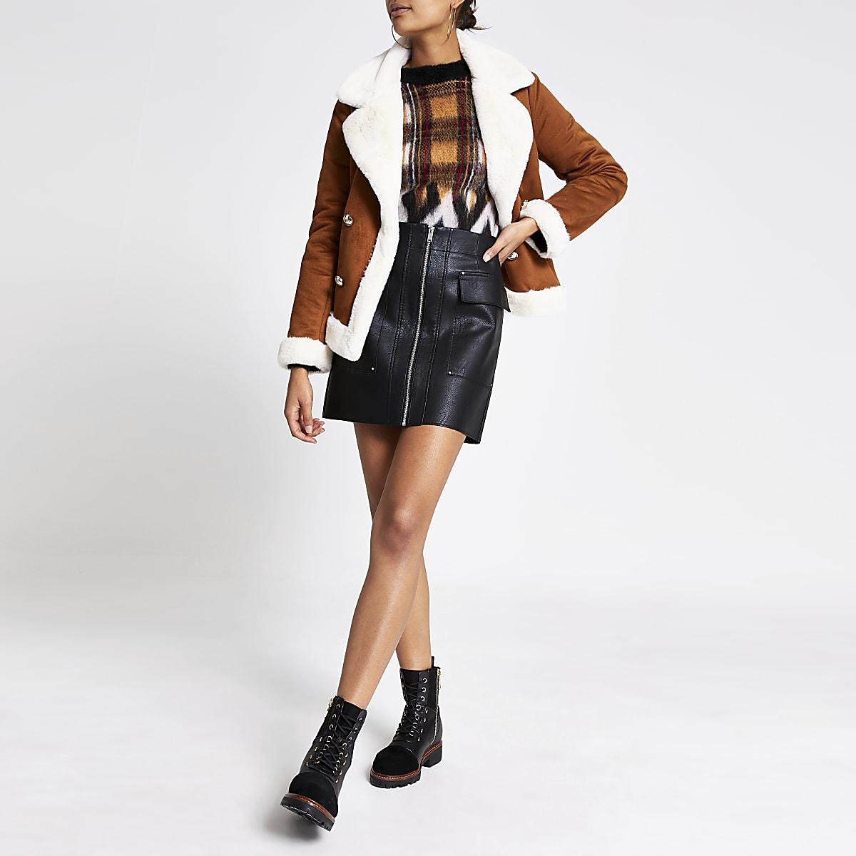 Black faux leather utility mini skirt