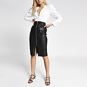 Black faux leather utility pencil skirt