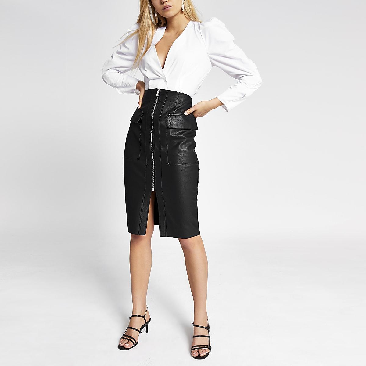 Black faux leather utility pencil skirt