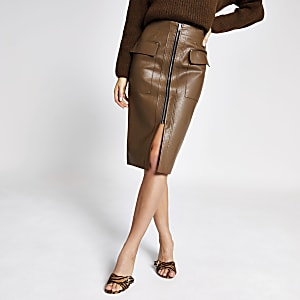 Brown faux leather utility pencil skirt