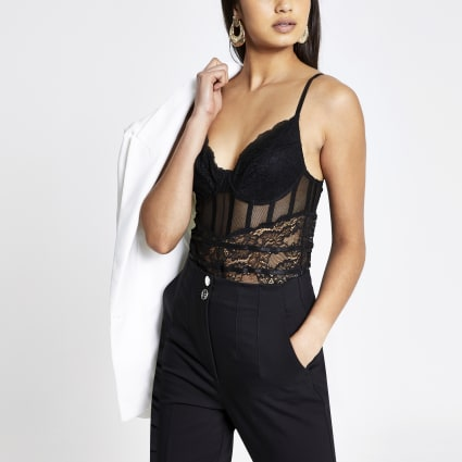 Black lace sheer panel bodysuit
