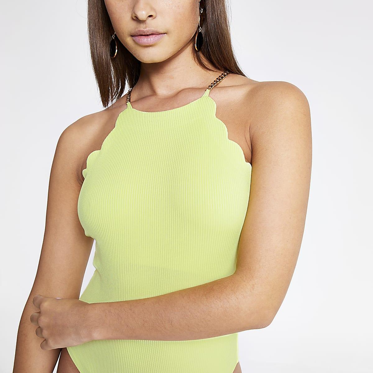 Neon green scallop trim bodysuit