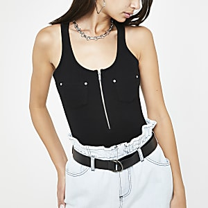 Body noir zippé style fonctionnel