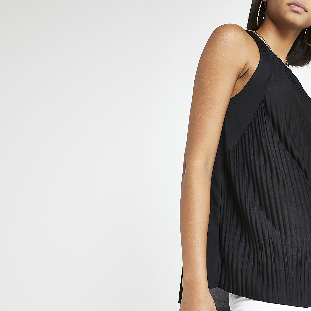 Black pleated loose fit top