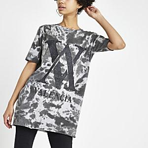 Grijs jumbo tie-dye T-shirt met print