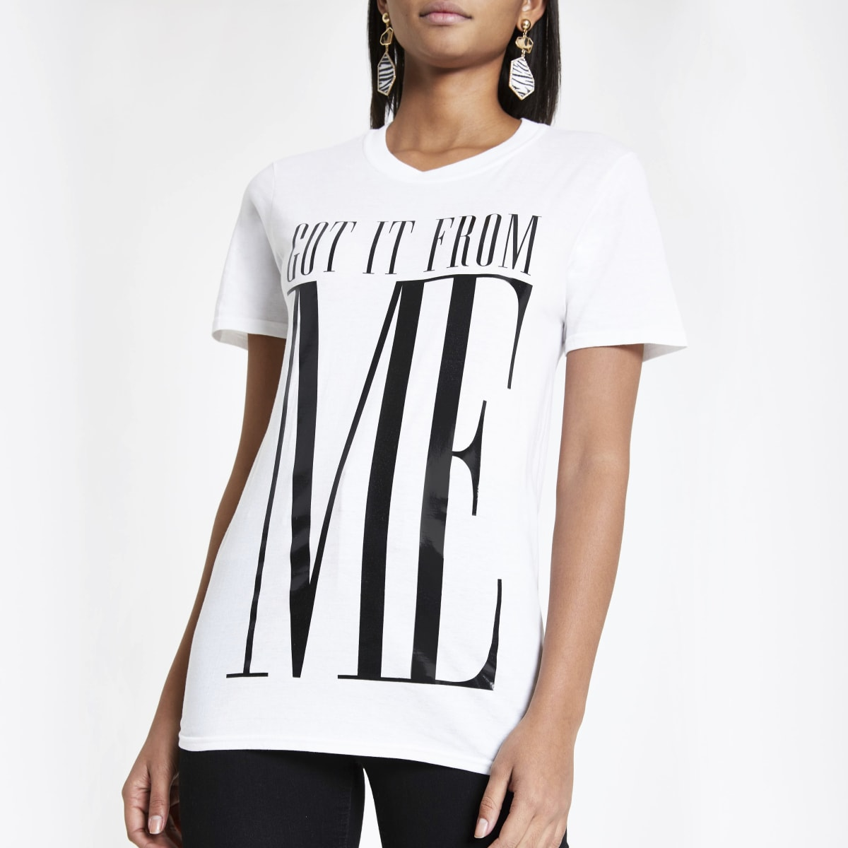 Twinning boyfriend T-shirt met 'Got it from me'-print